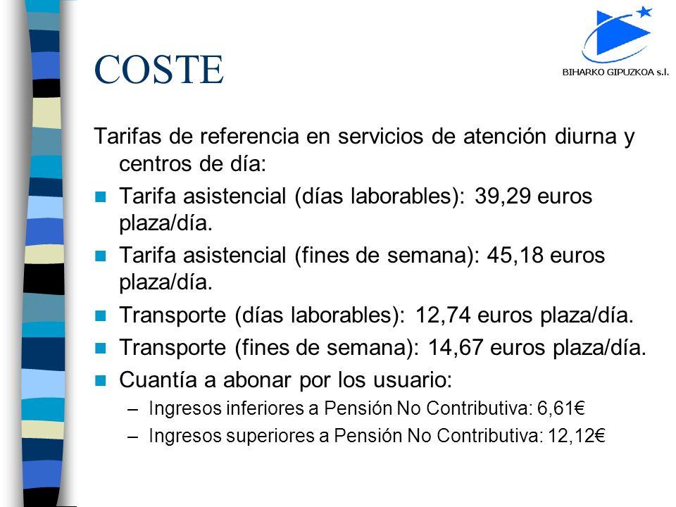COSTE Tarifas de referencia en servicios de atención diurna y centros de día: Tarifa asistencial (días laborables): 39,29 euros plaza/día.