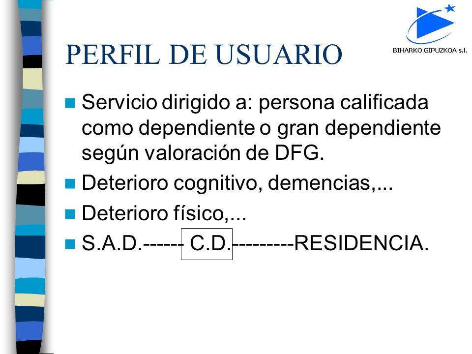 PERFIL DE USUARIO Servicio dirigido a: persona calificada como dependiente o gran dependiente según valoración de DFG.