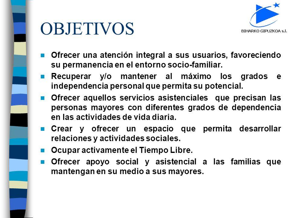 OBJETIVOS Ofrecer una atención integral a sus usuarios, favoreciendo su permanencia en el entorno socio-familiar.