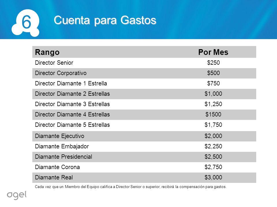 6 Cuenta para Gastos Rango Por Mes Director Senior $250