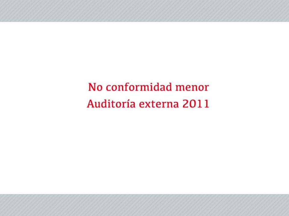 Fecha de auditoría externa: 11 al 13 de abril de 2011.