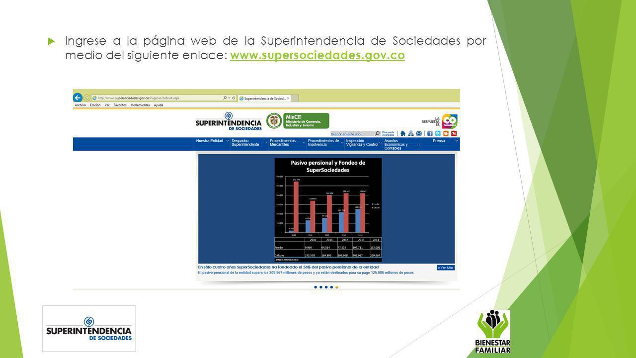 Ingrese a la página web de la Superintendencia de Sociedades por medio del siguiente enlace: www.supersociedades.gov.co