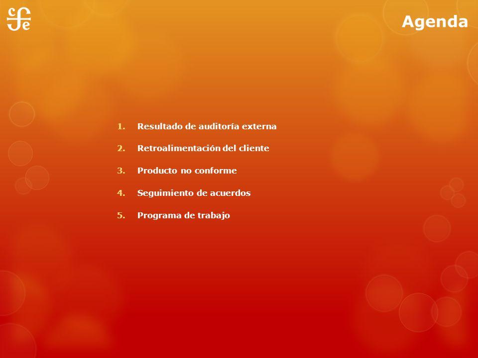 Agenda Resultado de auditoría externa Retroalimentación del cliente