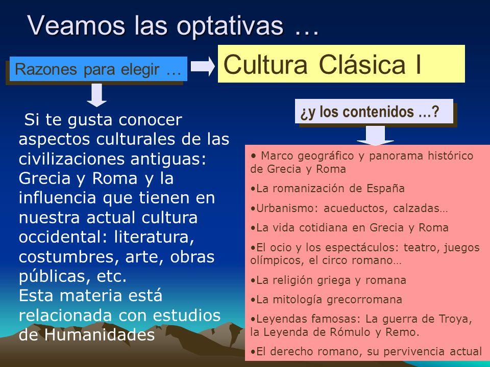 Veamos las optativas … Cultura Clásica I Razones para elegir …