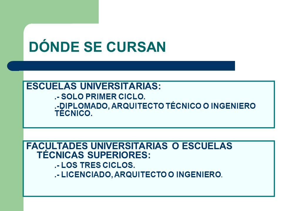 DÓNDE SE CURSAN ESCUELAS UNIVERSITARIAS: