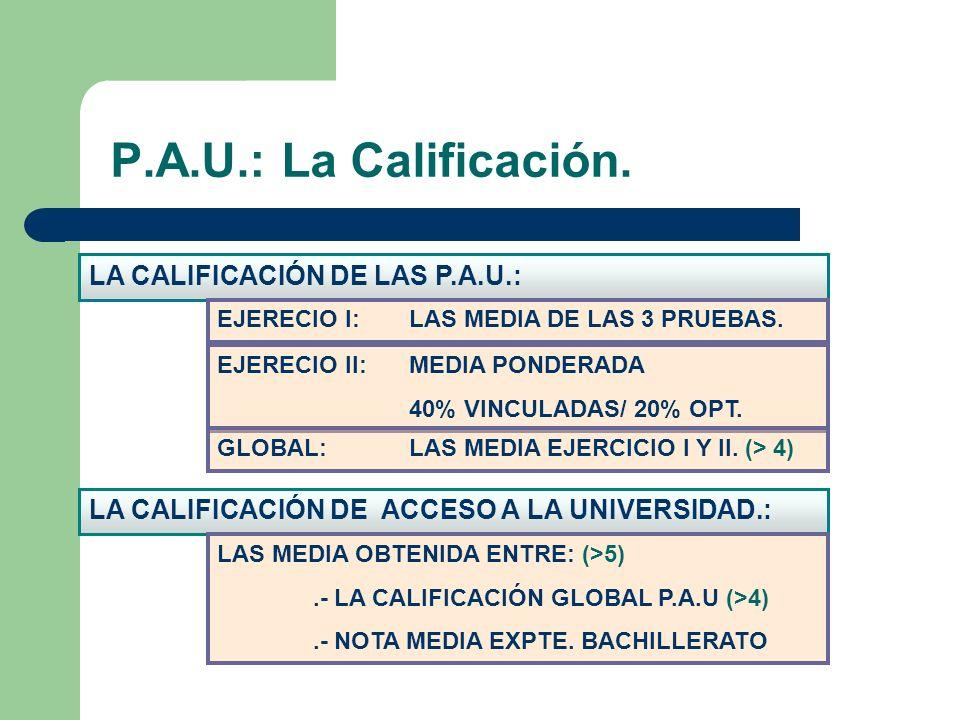 P.A.U.: La Calificación. LA CALIFICACIÓN DE LAS P.A.U.: