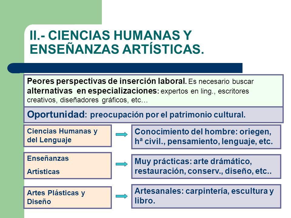II.- CIENCIAS HUMANAS Y ENSEÑANZAS ARTÍSTICAS.