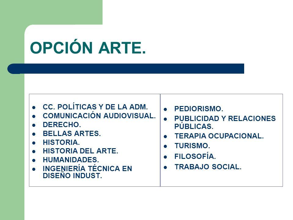 OPCIÓN ARTE. CC. POLÍTICAS Y DE LA ADM. PEDIORISMO.
