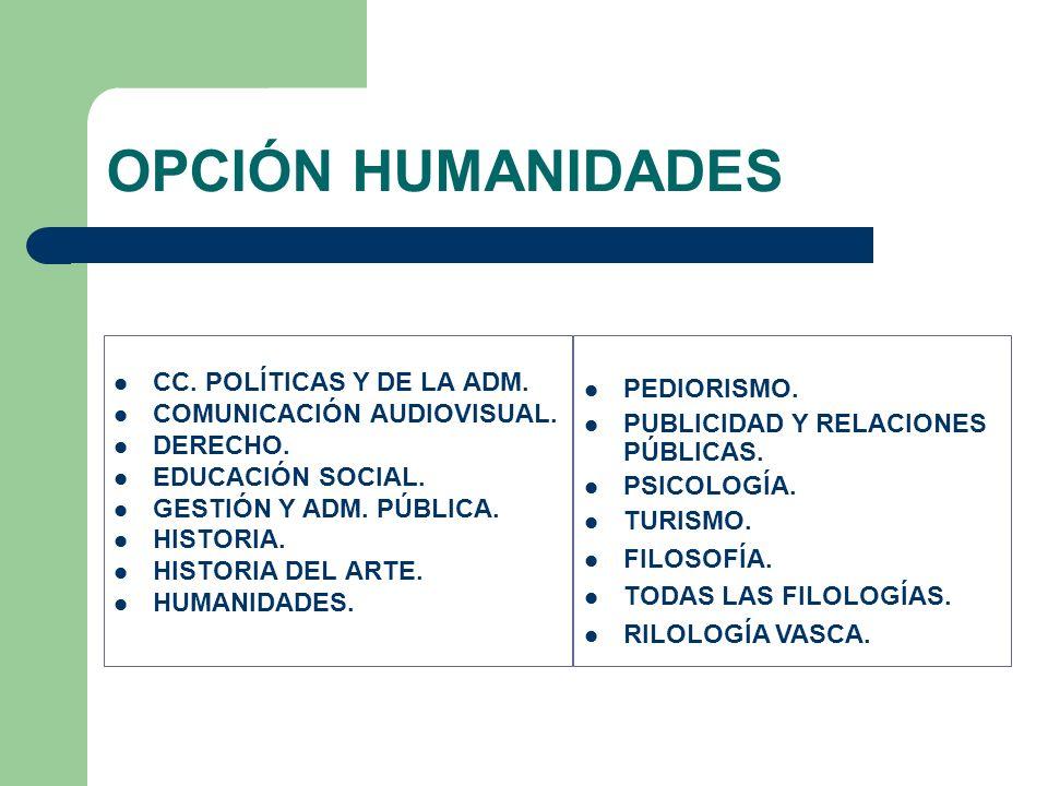 OPCIÓN HUMANIDADES CC. POLÍTICAS Y DE LA ADM. PEDIORISMO.