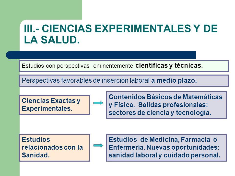III.- CIENCIAS EXPERIMENTALES Y DE LA SALUD.