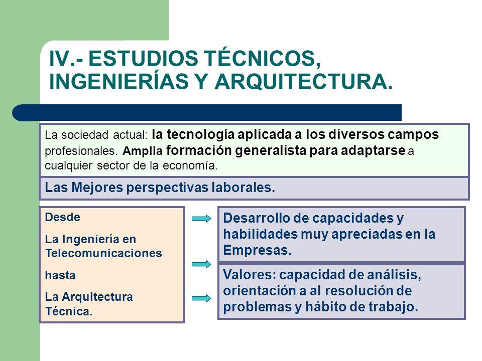 IV.- ESTUDIOS TÉCNICOS, INGENIERÍAS Y ARQUITECTURA.