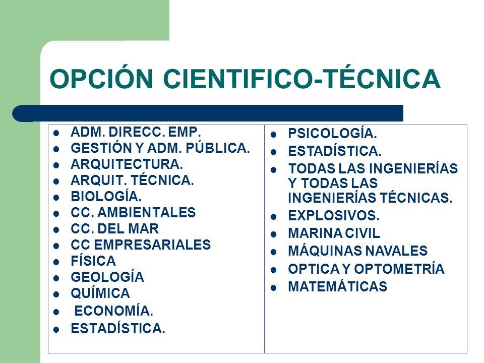 OPCIÓN CIENTIFICO-TÉCNICA