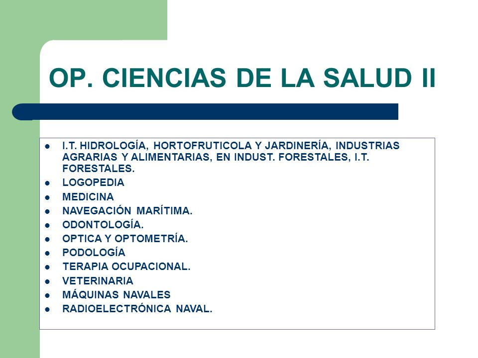 OP. CIENCIAS DE LA SALUD II