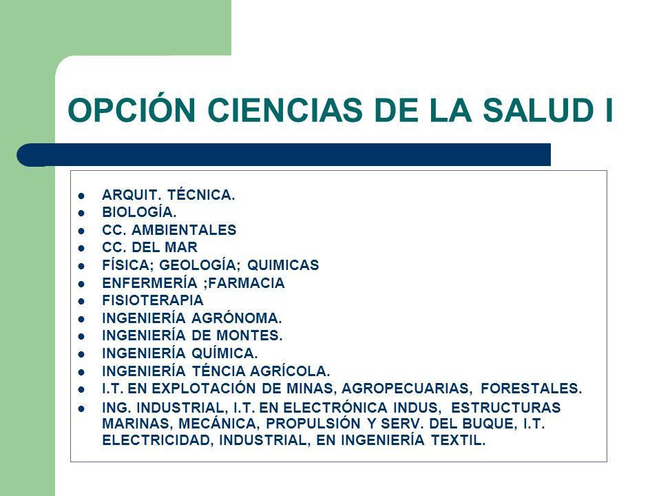 OPCIÓN CIENCIAS DE LA SALUD I
