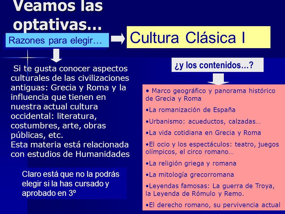 Veamos las optativas… Cultura Clásica I Razones para elegir…