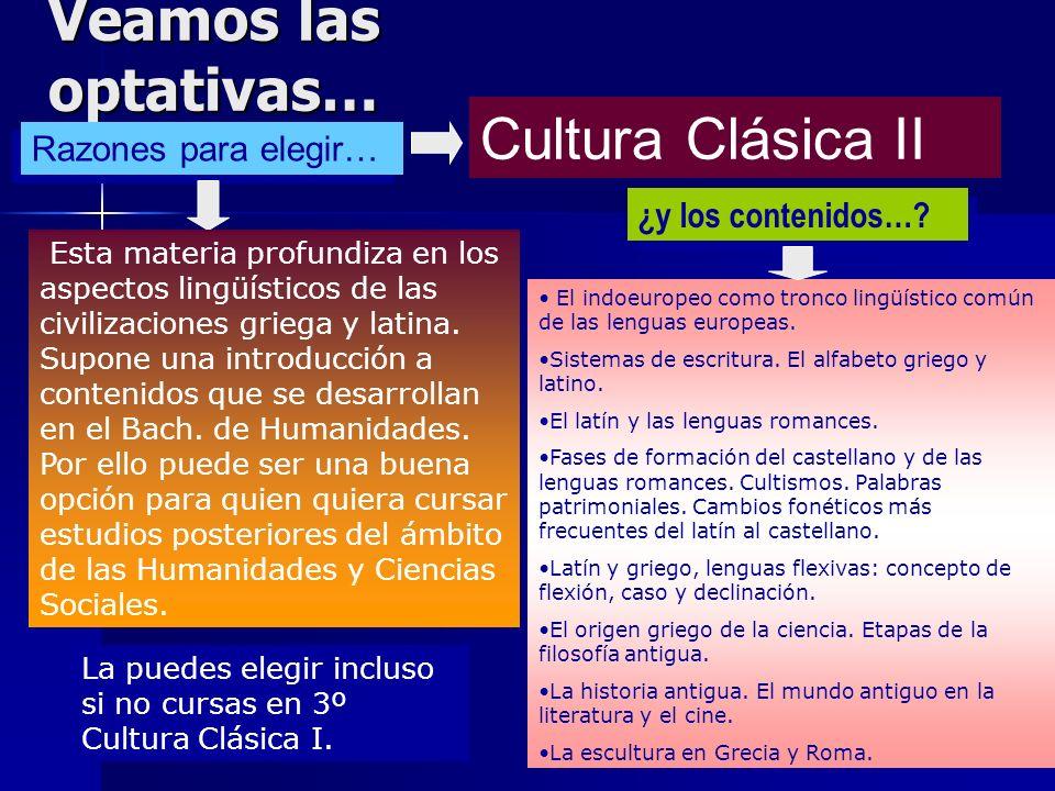 Veamos las optativas… Cultura Clásica II Razones para elegir…