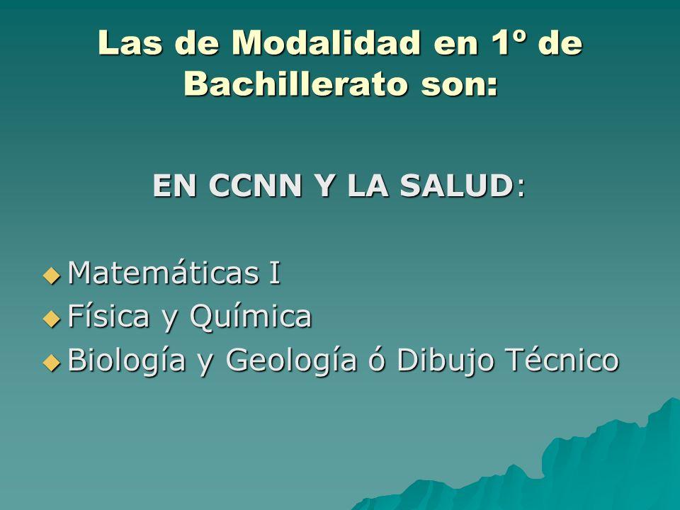 Las de Modalidad en 1º de Bachillerato son: