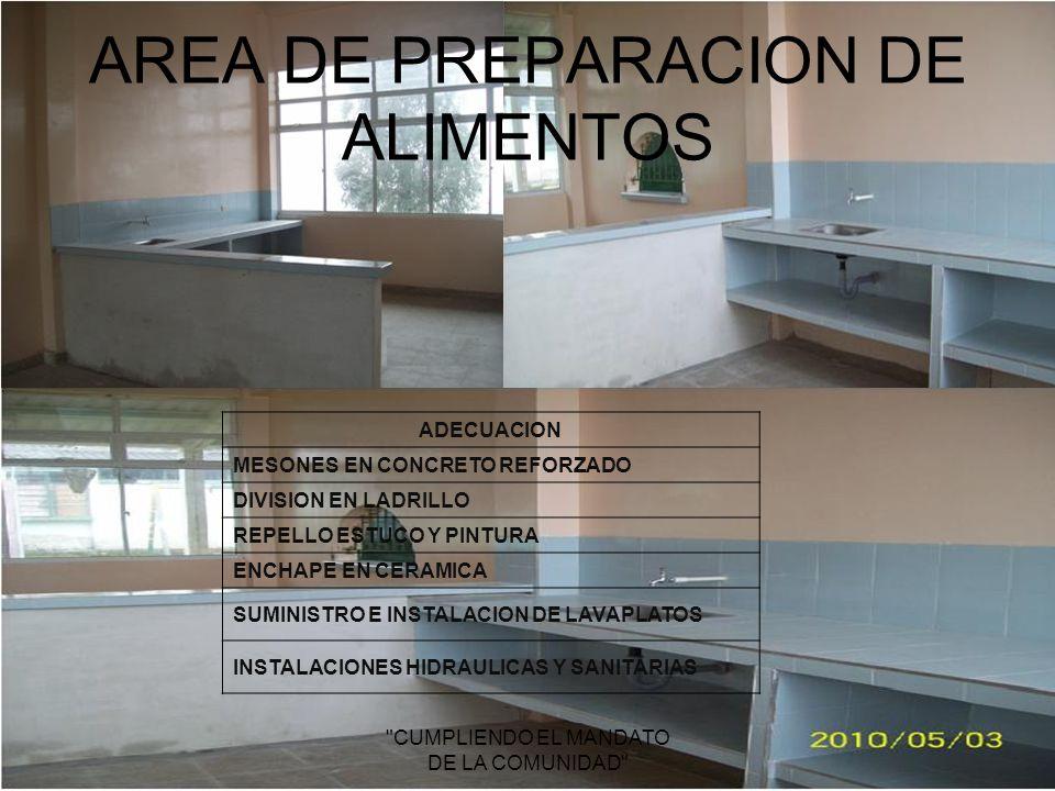 AREA DE PREPARACION DE ALIMENTOS