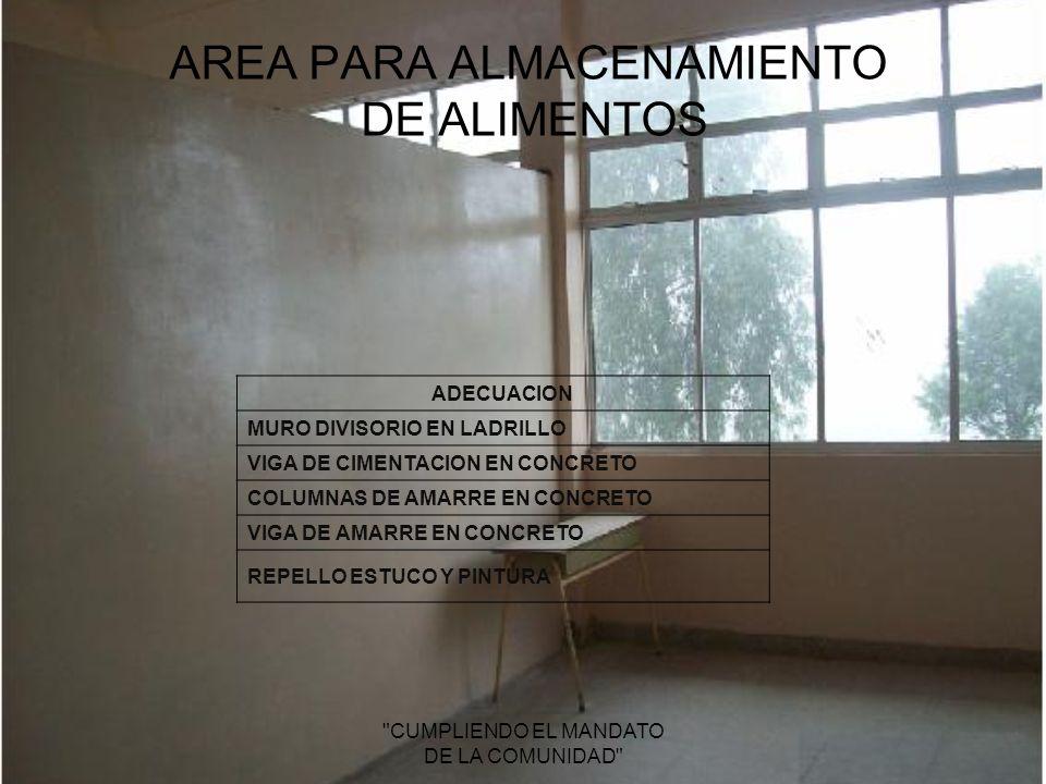 AREA PARA ALMACENAMIENTO DE ALIMENTOS