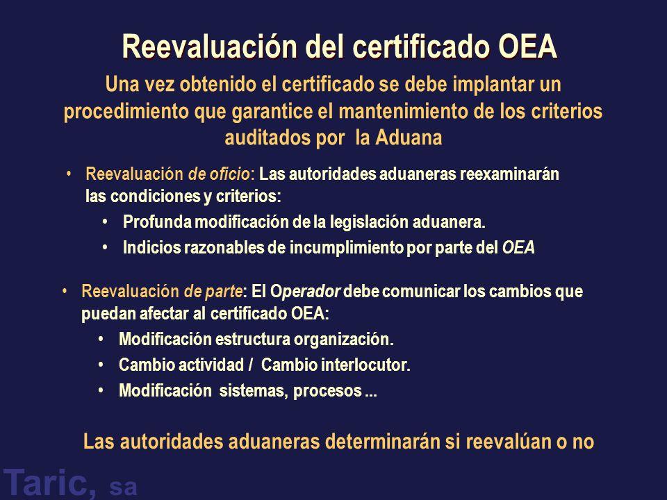 Reevaluación del certificado OEA