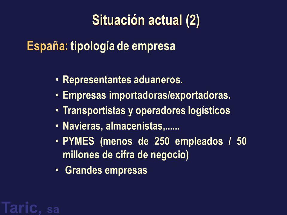 Situación actual (2) España: tipología de empresa