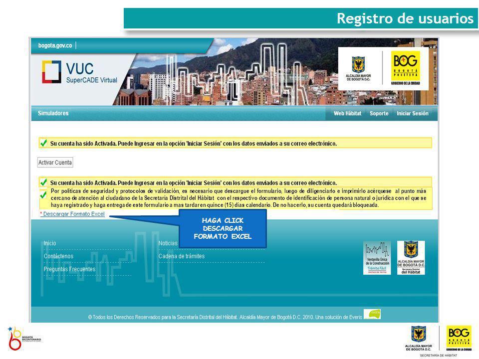 HAGA CLICK EN ACTIVAR CUENTA HAGA CLICK DESCARGAR FORMATO EXCEL