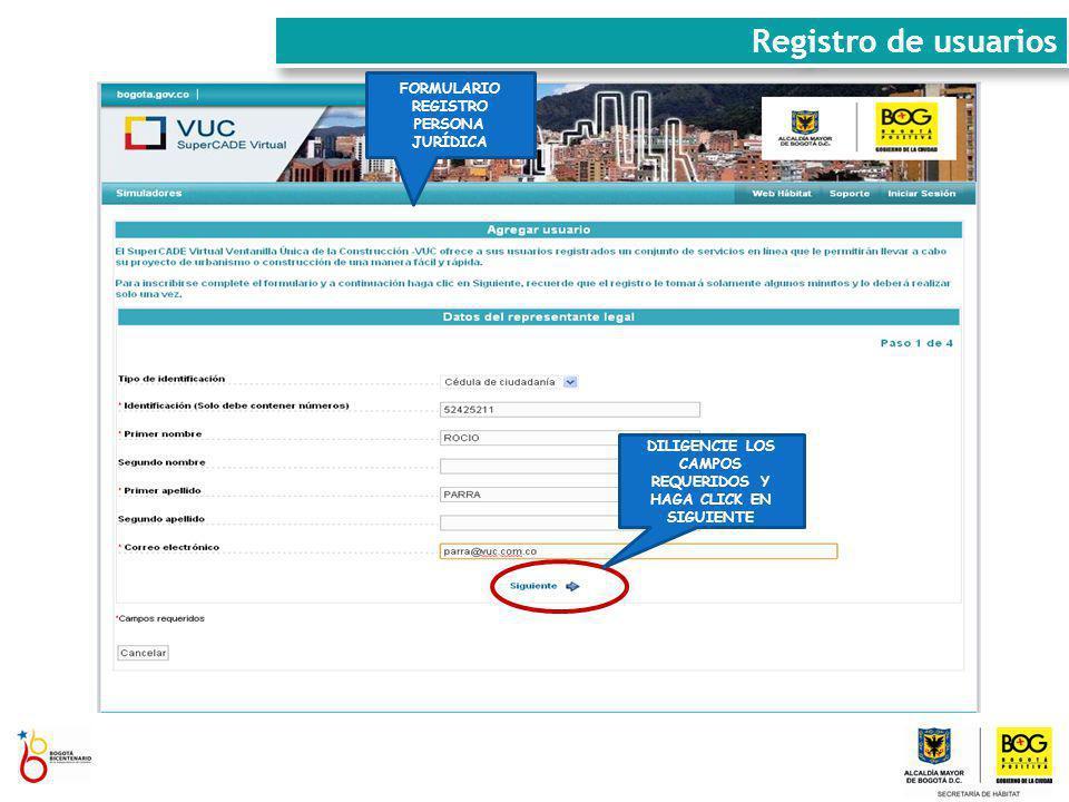 Registro de usuarios FORMULARIO REGISTRO PERSONA JURÍDICA