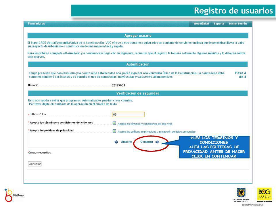 Registro de usuarios LEA LOS TERMINOS Y CONDICIONES