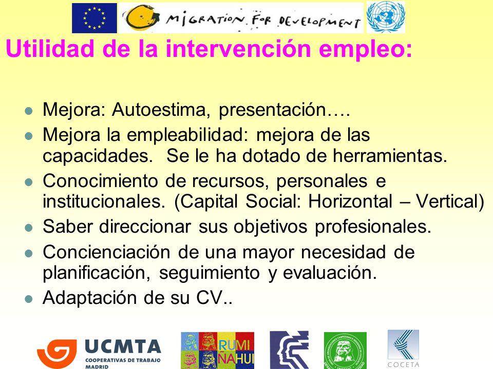 Utilidad de la intervención empleo: