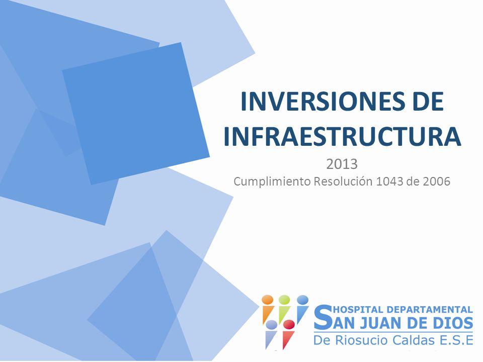 INVERSIONES DE INFRAESTRUCTURA 2013 Cumplimiento Resolución 1043 de 2006