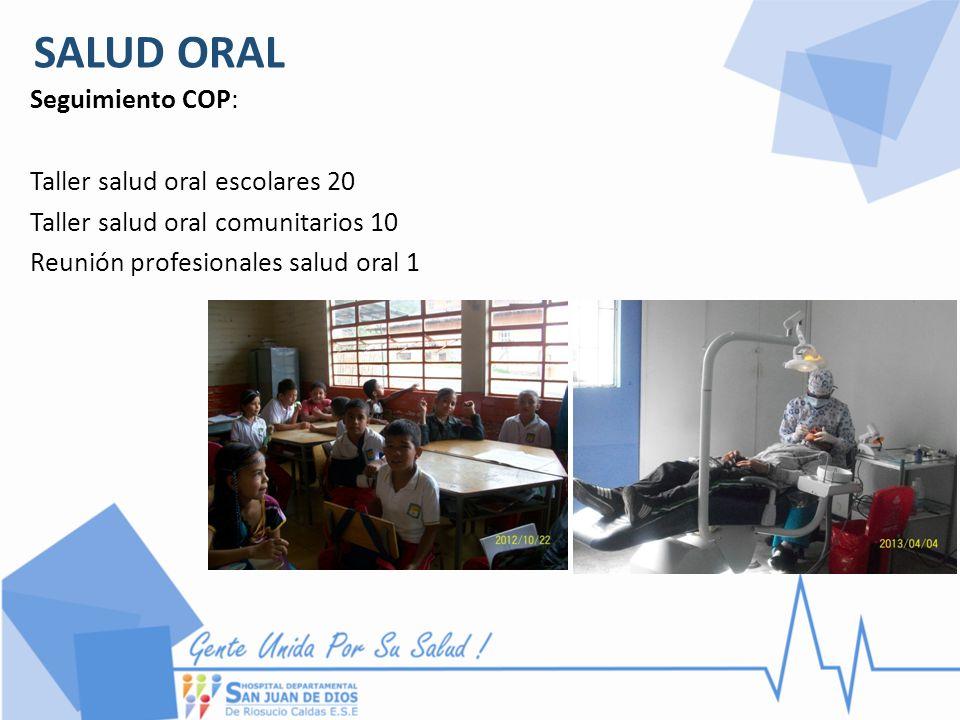 SALUD ORAL Seguimiento COP: Taller salud oral escolares 20 Taller salud oral comunitarios 10 Reunión profesionales salud oral 1