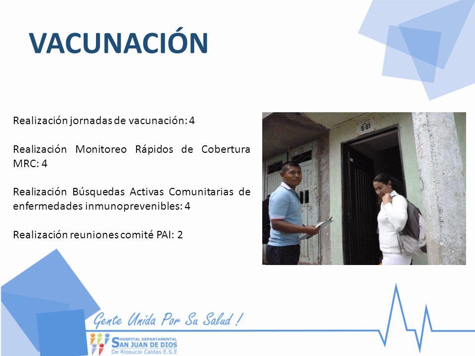 VACUNACIÓN Realización jornadas de vacunación: 4