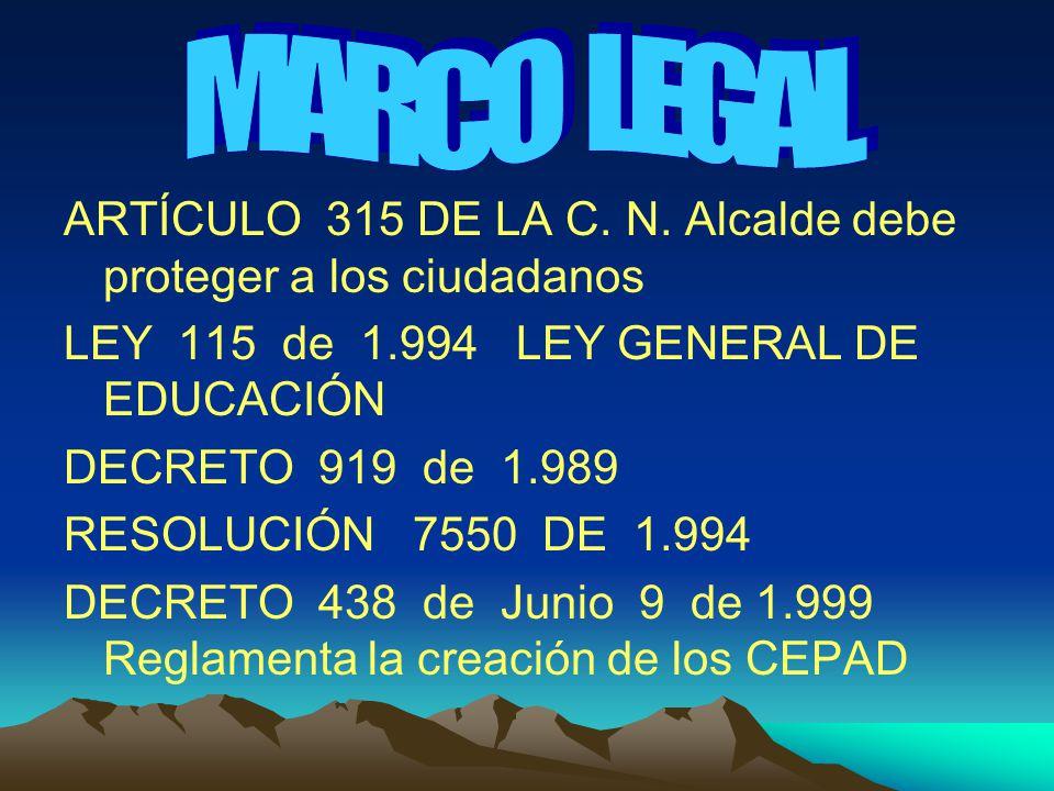 MARCO LEGAL ARTÍCULO 315 DE LA C. N. Alcalde debe proteger a los ciudadanos. LEY 115 de 1.994 LEY GENERAL DE EDUCACIÓN.