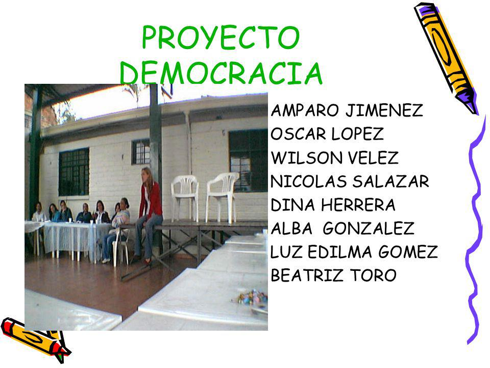 PROYECTO DEMOCRACIA AMPARO JIMENEZ OSCAR LOPEZ WILSON VELEZ