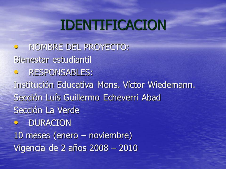 IDENTIFICACION NOMBRE DEL PROYECTO: Bienestar estudiantil
