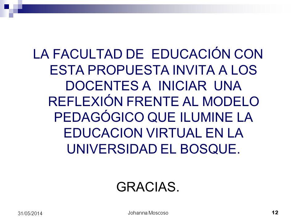 LA FACULTAD DE EDUCACIÓN CON ESTA PROPUESTA INVITA A LOS DOCENTES A INICIAR UNA REFLEXIÓN FRENTE AL MODELO PEDAGÓGICO QUE ILUMINE LA EDUCACION VIRTUAL EN LA UNIVERSIDAD EL BOSQUE.