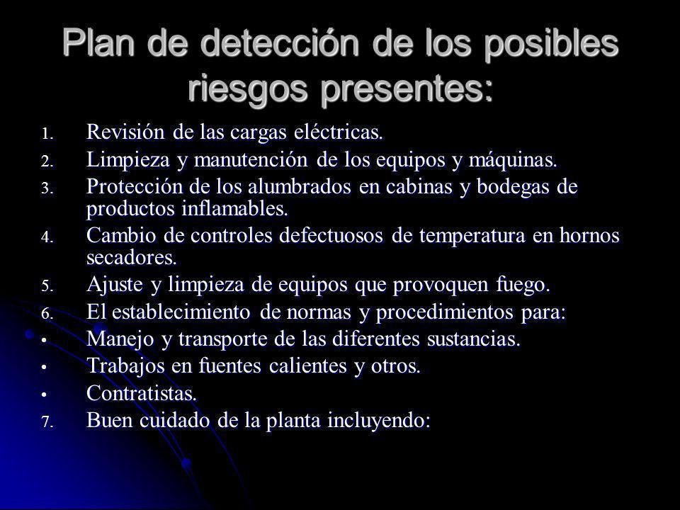 Plan de detección de los posibles riesgos presentes: