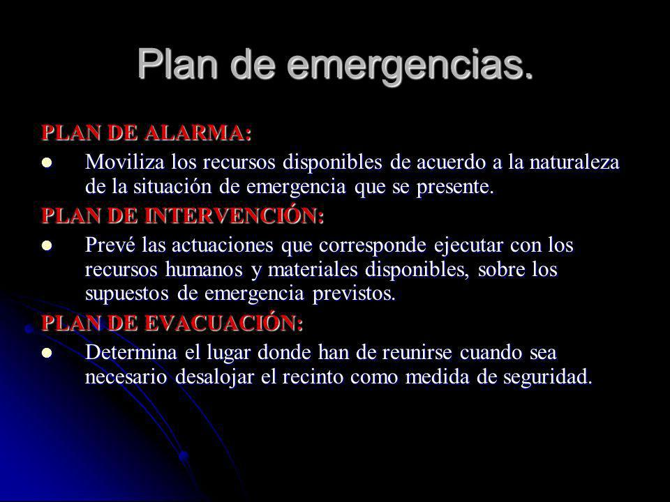 Plan de emergencias. PLAN DE ALARMA: