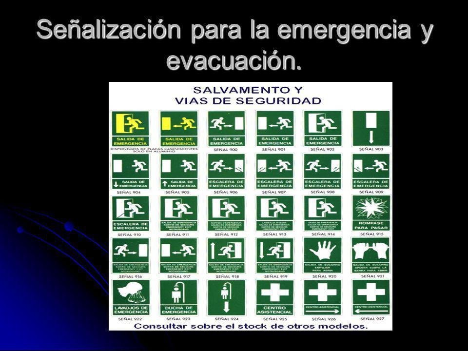 Señalización para la emergencia y evacuación.