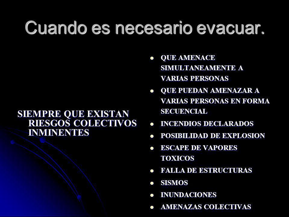 Cuando es necesario evacuar.