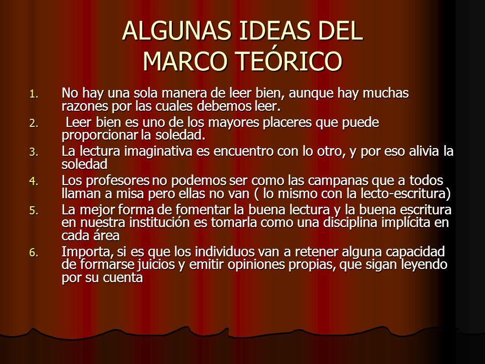 ALGUNAS IDEAS DEL MARCO TEÓRICO