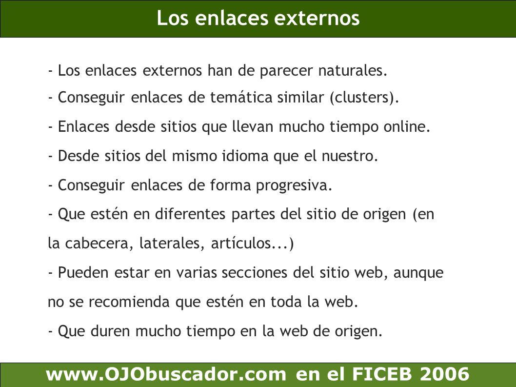 Los enlaces externos www.OJObuscador.com en el FICEB 2006
