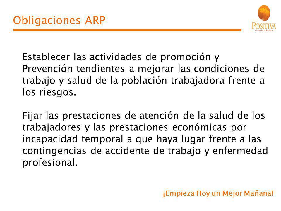 Obligaciones ARP Establecer las actividades de promoción y