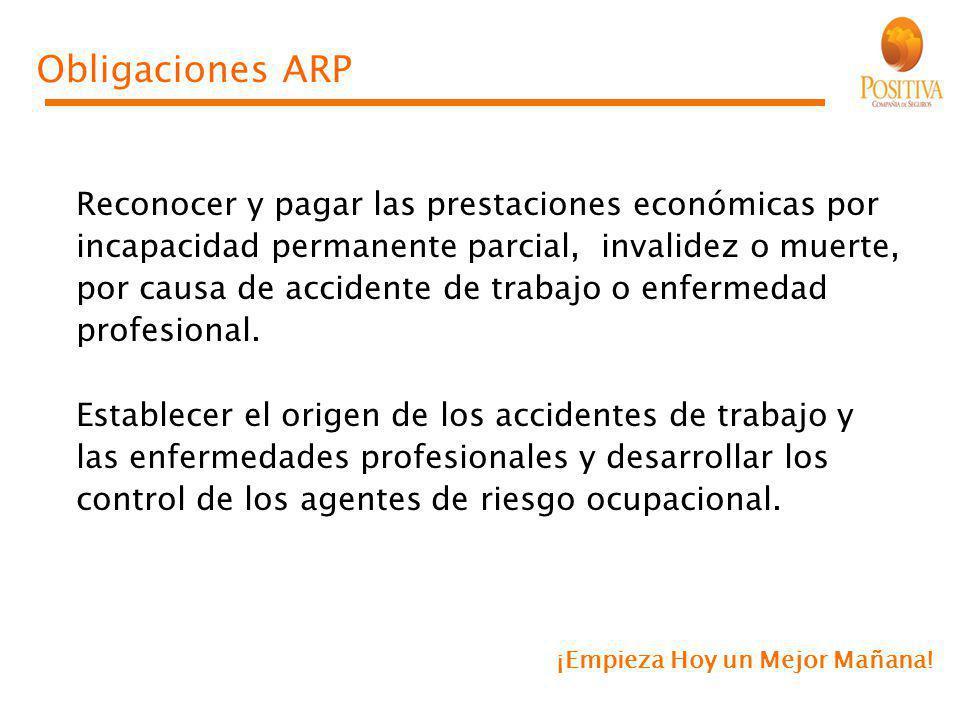 Obligaciones ARP Reconocer y pagar las prestaciones económicas por