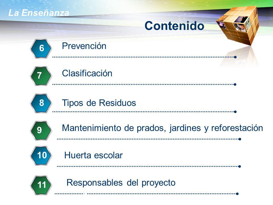 Contenido Prevención 6 Clasificación 7 7 7 8 Tipos de Residuos