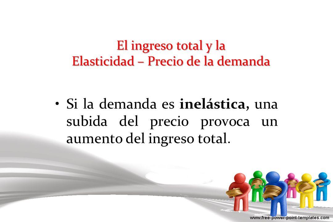 El ingreso total y la Elasticidad – Precio de la demanda