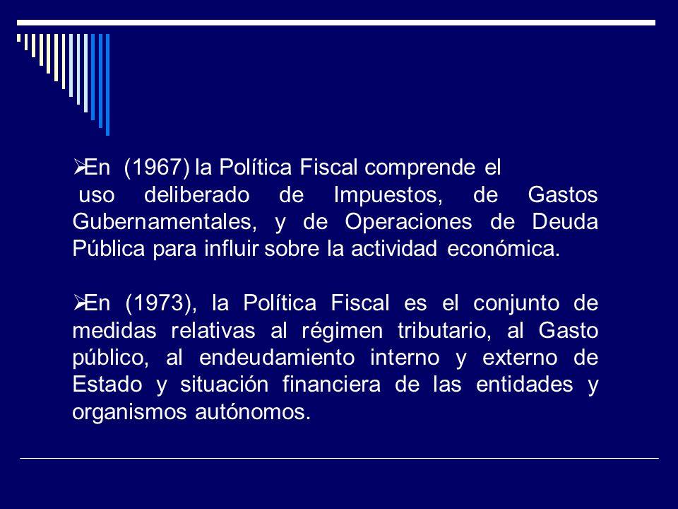 En (1967) la Política Fiscal comprende el