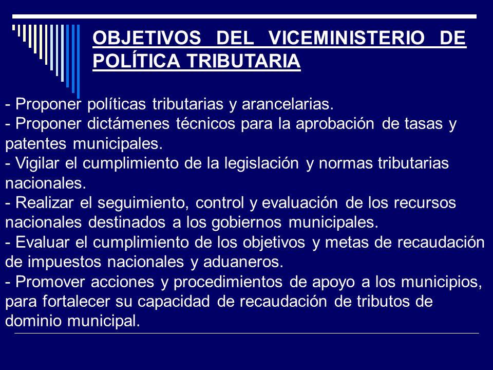 OBJETIVOS DEL VICEMINISTERIO DE POLÍTICA TRIBUTARIA