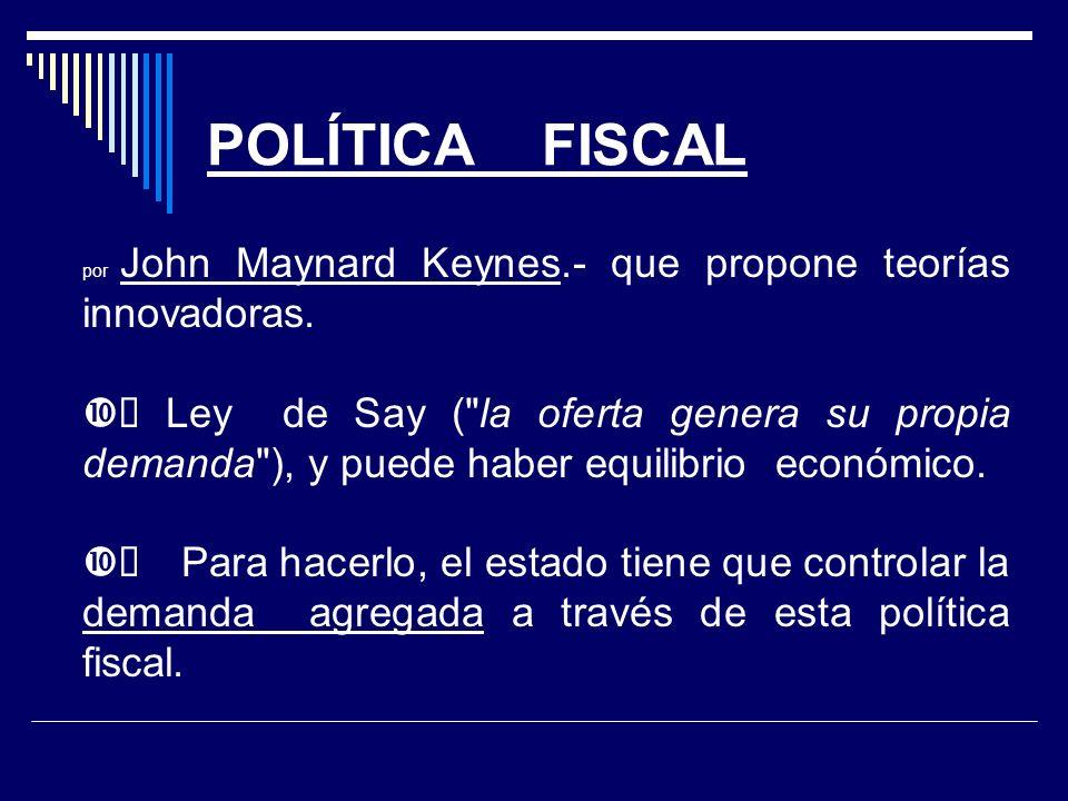 POLÍTICA FISCAL por John Maynard Keynes.- que propone teorías innovadoras.