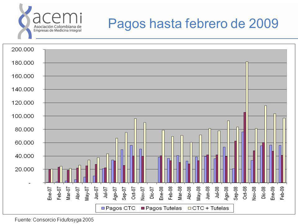 Pagos hasta febrero de 2009 Fuente: Consorcio Fidufosyga 2005